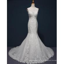 Vestido de noiva sereia de renda de alta qualidade