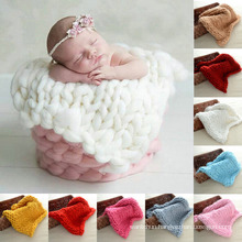 Super Chunky Hand Knit Baby Blanket Photography Prop Newborn Rug