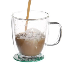 double wall glass mug cup for hot milk