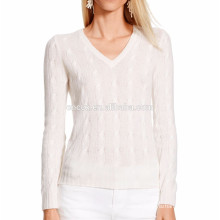 15PKCAS53 V neck cashmere cotton lady cashmere pullover sweater