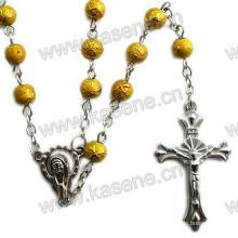 Collar religioso caliente del rosario de los granos de cristal de la venta 6m m