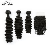 Vison Brésilien Vierge Cheveux Raides Avec 360 Frontale Fermeture 8A Grade, Cheveux Brésiliens Vague Profonde 3 Bundles 100G