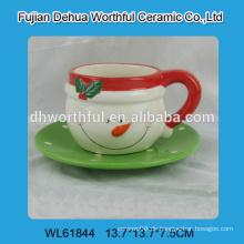 2016 Weihnachtsdekoration Keramik Kaffeetasse mit Untertasse in Schneemann Form