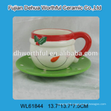 2016 christmas decoration ceramic coffee cup with saucer in snowman shape
