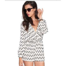 Sexy Long Sleeve 100% Chiffon Jumpsuite for Women and Ladies OEM