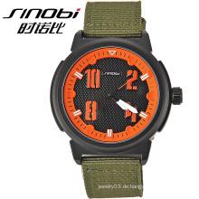 2015 Beliebte runde Zifferblatt schwarze Armee grüne Armbanduhr für Männer sehen Geschenk