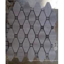 Mosaïque de mosaïque d'octogone Mosaïque de pierre de marbre gris (HSM208)