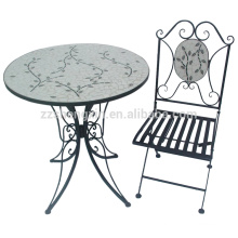 popular mixed color slate mosaic round table