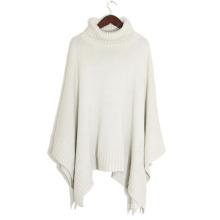 Lady Fashion Acrylic Knitted Turtleneck Shawl Poncho (YKY4143)