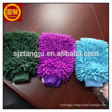 Customized cleaning towel in packs One side microfiber chenille gloves for caring car microfiber terry cleaning products