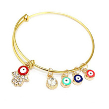 Evil Eye and Fatima Hand on Iron Bangle (XBL13496)