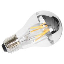Venta directa de fábrica A60 3.5W E27 LED bombilla con espejo plateado superior
