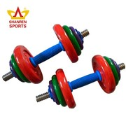 2015 new design colorful exercise equipment cheap drawing dumbbells