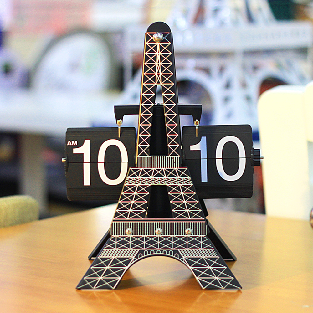 European Style Eiffel Tower Flip Desk Clock