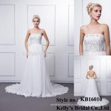 Personalizado feito de alta qualidade chinês tradicional longa trilha fora do ombro frisado vestido de casamento anti-rugas mãe da noiva
