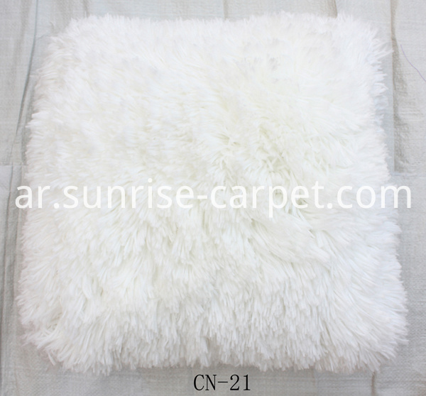 Pillow with Polyester Shaggy yarn white color