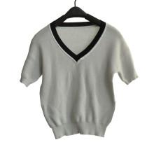 100%Cotton Short Sleeve V-Neck Knit Women Knitwear