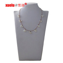 Fashion Jewelry Leather Freshwater Pearl Necklace for Christmas Gift
