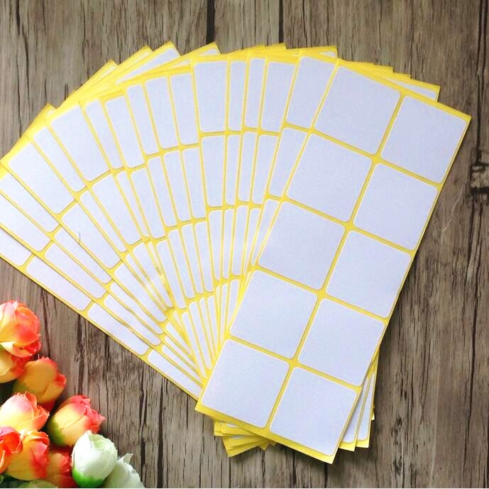 12sheets Pack Self Adhesive Sticky White Label Writable Name Stickers Blank Post It Note Label Bar