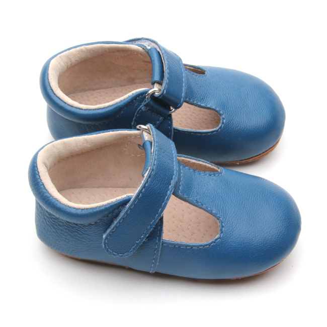Solid Color Kids T-bar Blue Soft Leather Shoes
