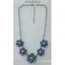Metal Necklace with Six Blue Flower Pendant