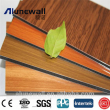 Alunewall 20 Year Warrant Wood Grain A2/B1 grade fireproof Aluminium Composite Panel Factory Price 2M width
