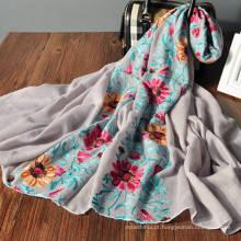 O costume por atacado bonito da mola floral da cópia imprimiu o multi lenço da fantasia do desgaste para mulheres
