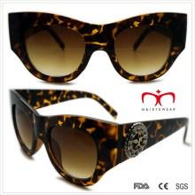 Plastik Damen Special Shaped Sonnenbrille mit Metall Dekoration (WSP508369)
