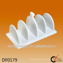 Sostenedor de servilleta de cerámica del restaurante, servilleta de cerámica blanca