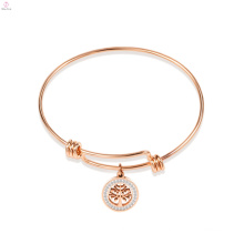 Custom Tree Round Charm Expandable Bangle Bracelet