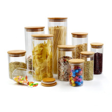 Wide Mouth Round Borosilicate Airtight Kitchen Glass Storage Container with Wooden Lid