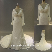 Vestido de noiva de renda de cetim de renda branca