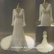 белый атласные кружева колокол рукав свадебные платья