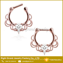 Kundenspezifische Rose Gold plattiert Tribal Clear Crystal Septum Ring Piercing