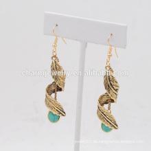 Heiße Verkaufs-schöne Art- und Weise preiswerte Retro- Türkis-hängende Ohrringe für Frauen SSEH016