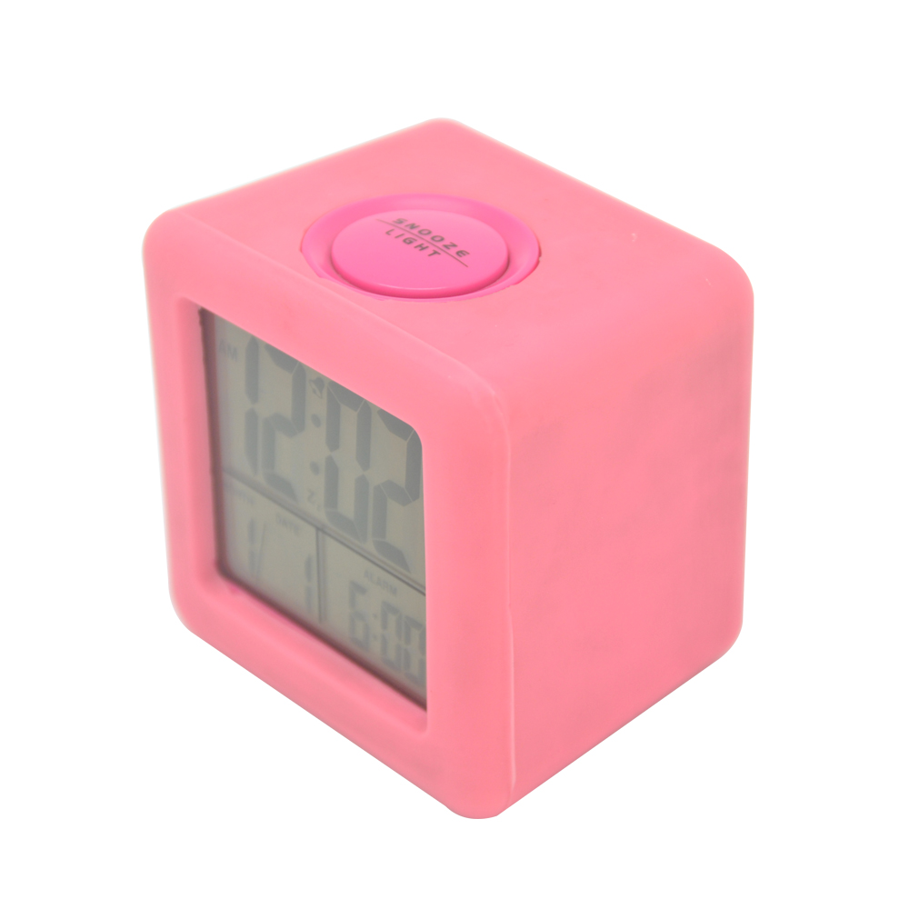 square silicone alarm table clock with snooze date