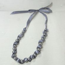 Custom Grey Pearl Charm Necklace with Ribbon