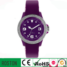 3 ATM Watch Resistant Leather Strap Lady Diamond Watch