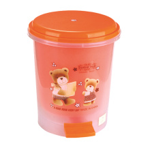 Cute Printed Design Plastic Pedal Dustbin (YW0087)