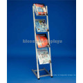 China Hersteller 4-Layer Metall Display Fabrik Freie Design Boden Standing Broschüre Buch Display Regal