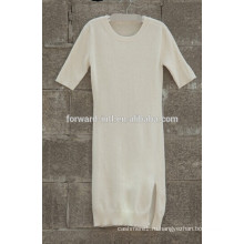 Мода под 100% кашемир круглым воротом платье с разрезом
