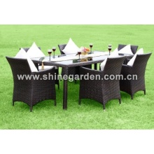 Outdoor PE wicker Furniture 7 Piece Patio Wicker Dining Set