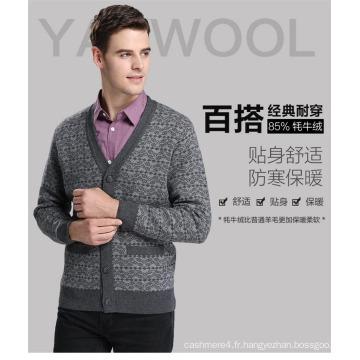 Yak Wool V Neck Cardigan Pull à manches longues / Vêtements / Vêtement / Tricots