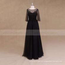 Mangas largas Boho Beaded Negro vestido de novia