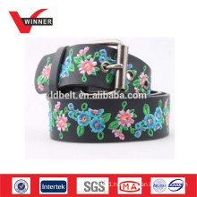 Customized flower embroider leather belts