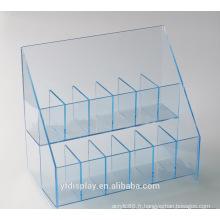 Affichage des accessoires sur mesure en acrylique bleu