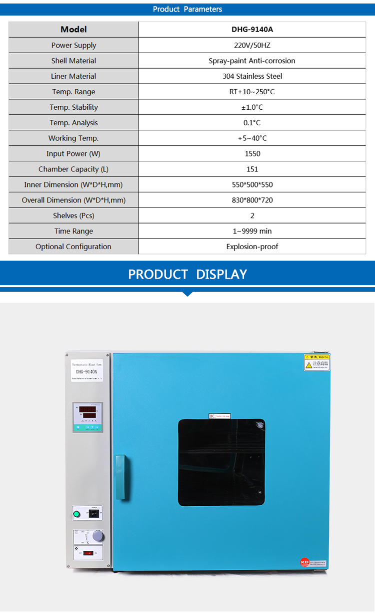 Hot blast air circulating drying oven for lab heating process