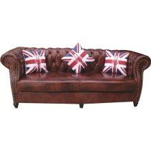 Chesterfield London English Set de sofá de cuero oxblood antiguo de 2,5 plazas con brazos de frente de desplazamiento