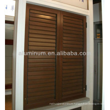 wood grain aluminum shutters window