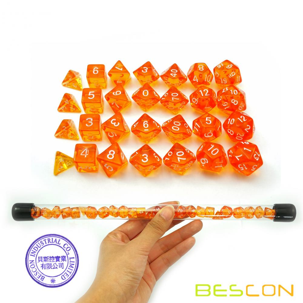 Bescon 28pcs Translucent Orange Mini Polyhedral Dice Set in Tube, Dungeons and Dragons RPG Dice 4X7pcs,Mini Gem Dice Set